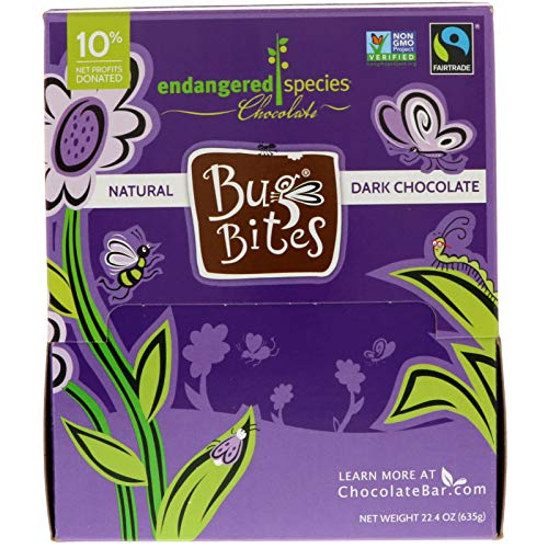 Endangered Species Bug Bites, Smooth Dark Chocolate, 0.35 Ounce (Pack of 64)