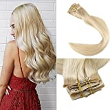 extensiones de cabello natural - Full Shine 8 Pieces 20 inch 120g Seamless 613 Blonde Clip in Hair Extensions on a Skin Weft Secret Invisible Clip Hair Extensions Quick in Real Hair Extensions De Cabello Natural