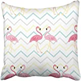 Throw Pillow Cover Polyester 18X18 Inch Colorful Abstract Flamingo Pattern With Pink Africa Animals Cartoon Child Collection Color Two Sides Decorative Square Print Pillowcase For Home