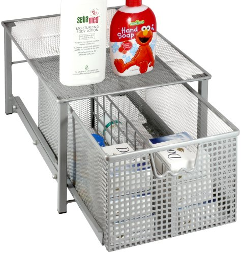 DecoBros Mesh Cabinet Basket Organizer, Silver (Large - 10.6 X 16 X 7.8)