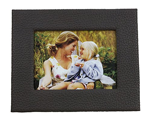 Pictronic Illuminated Flat Screen Photo Frame for a 4×6″ Picture, Brown Faux Leather Texture