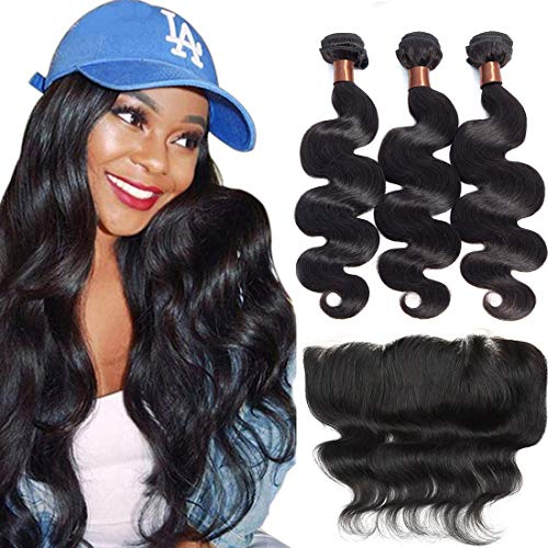 BLACKMOON HAIR(TM) Brazilian Virgin Hair With Lace Frontal Unprocessed Virgin Human Hair Bundles With Lace Frontal Body Wave Natural Black Color (20