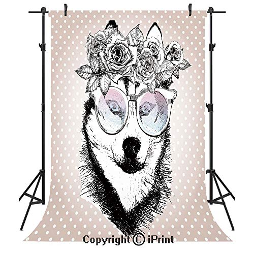 (Alaskan Malamute Photography Backdrops,Vintage Polka Dots and Dog Wearing Floral Wreath and Sunglasses,Birthday Party Seamless Photo Studio Booth Background Banner 10x20ft,Rose Gold Black)