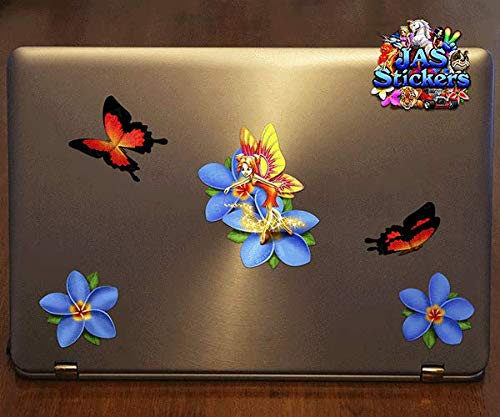 Blue ST00062BL/_LGE JAS Stickers/® FAIRY FLOWER BUTTERFLY Car Decal Plumeria Animal Kids Vinyl Large Sticker Pack For Laptop Bicycle Caravans Trucks /& Boats