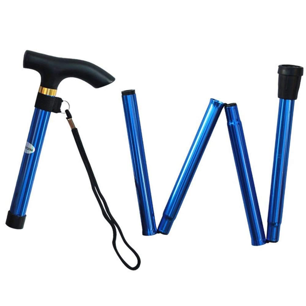 CCwenjing 2PCS/LOT Adjustable Aluminum 5 Section Folding Multi-Function Telescopic Stick Walking Trekking Pole Lightweight Walking Stick (Color : Blue, Size : 28-93CM-2PCS) by CCwenjing