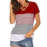 VIASA_ Ladies Blouse Tops, Stripe Splice T-Shirt Short Cross Rope Blouse Tops Loose Fit Shirts (Red, XL)