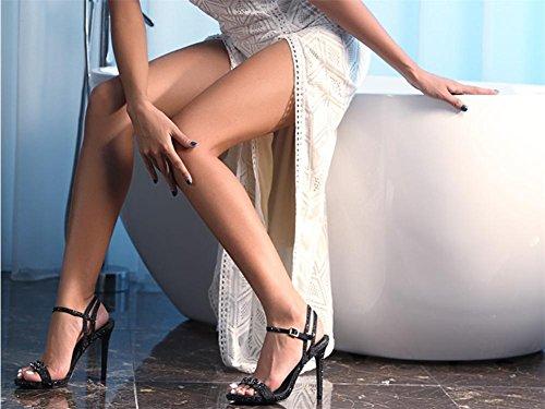Orteil des Nuit Taille Printemps Boîte Haute Noir Sexy NVXIE Chaussures 35 Mariage Stylet Femmes Talon Satin Diamant Sandales BLACK EUR39UK665 Sangle de Été 42 Habillé Cheville Ouvert Creux Rqw8qX