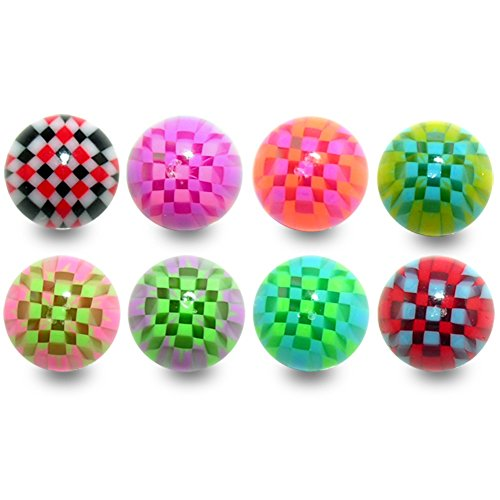 10 Pieces (5 Pairs) Mix Color Pack 1.6x8MM Threaded UV Multi Colored Cheker Acrylic Ball - Kasey Kahne Pieces