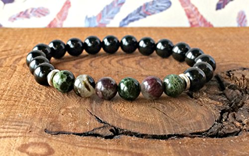 JP_BEADS Black Tourmaline & Multicoloured Gem Tourmaline Bracelet, Elbaite Jewelry, Wrist Mala Beads, Healing Crystals, Protection - Creativity 6mm