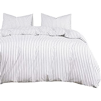 Wake In Cloud - White Striped Duvet Cover Set, 100% Washed Cotton Bedding, Black Vertical Ticking Stripes Pattern Printed on White, with Zipper Closure (3pcs, Queen Size)