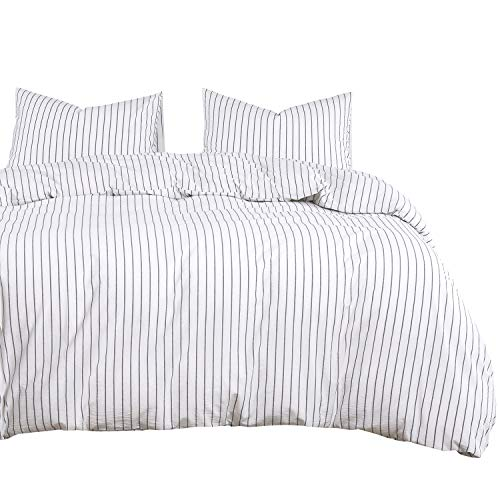Vertical Striped Linen - Wake In Cloud - White Striped Duvet Cover Set, 100% Washed Cotton Bedding, Black Vertical Ticking Stripes Pattern Printed on White, with Zipper Closure (3pcs, Queen Size)