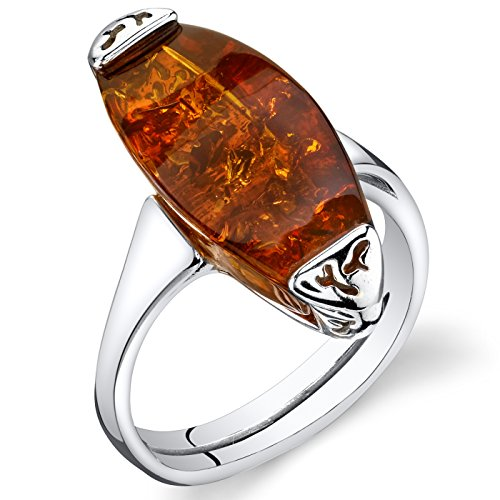 Baltic Amber Gallery Ring Sterling Silver Cognac Color Size 9