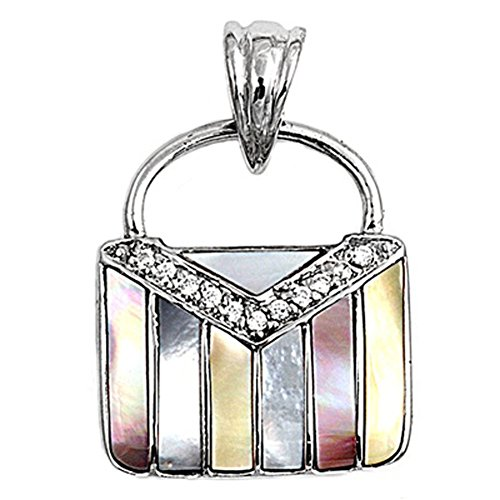 (Sterling Silver Multi Striped Purse Pendant Simulated Mother of Pearl)