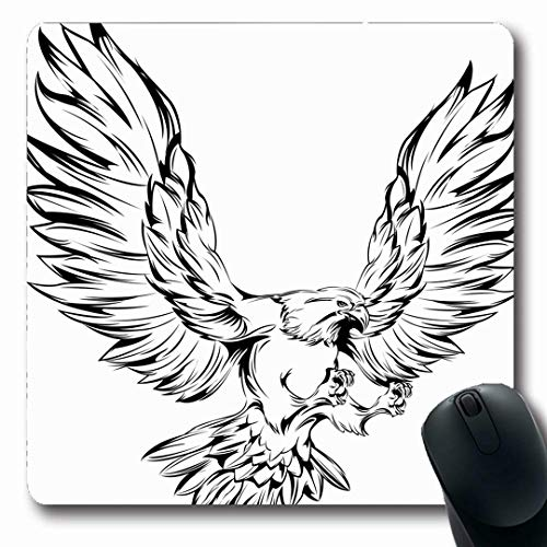 Ahawoso Mousepads Wing Falcon Monochrome Eagle During Landing Raised Predator Wings Flying Bird Black Hawk Tattoo Oblong Shape 7.9 x 9.5 Inches Non-Slip Gaming Mouse Pad Rubber Oblong Mat -