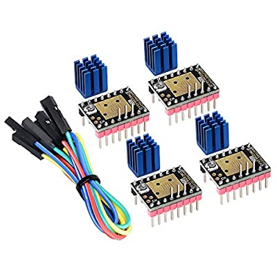 Kingprint TMC2208 V3.0 Stepper Damper with Heat Sink Driver, Replacement Damper for A4988 DRV8825 for 3D Printer (4 Pieces)