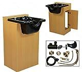 LCL Beauty Deluxe Oak Shampoo Cabinet with Heavy Duty CERAMIC Shampoo Bowl & Vacuum Breaker