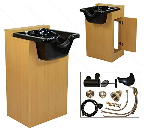 LCL Beauty Deluxe Oak Shampoo Cabinet with Heavy Duty CERAMIC Shampoo Bowl & Vacuum Breaker