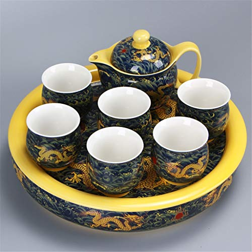 (XUDONG China High-Grade Tea Set Chinese Dragon Ceramic Kung Fu Double Cup Tea Set Complete Set of Dry Bubble Plate Tea Plate Anti-Scalding,D)