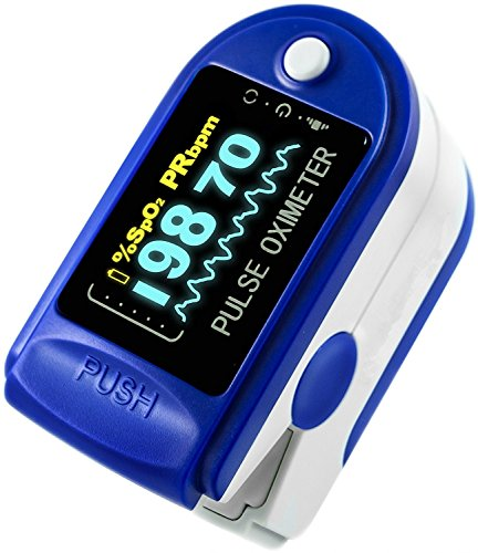 Finger Pulse Oximeter by Showsa Precision, SpO2 Device for Blood Oxygen Saturation Level Reading, Fingertip Oxygen Meter w/ Alarm & Pulse Rate Monitor Measure Accurate Oxygen Levels (Blue)