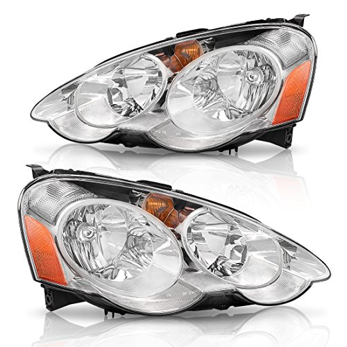 Autosaver88 OE Style Headlight Assembly for 02 03 04 Acura RSX Headlamp Replacement, Chrome Housing Amber Reflector, One-Year Warranty( Passenger and Driver Side,AC2518101,AC2519101)