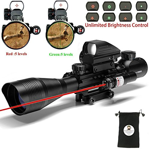 XOPin AR15 Tactical Rifle Scope C4-12x50EG Hunting 3 in 1 Dual Illuminated with Red Laser Sight, 4 Holographic and Green Dot Sight for 22, 11mm Weaver / Picatinny Rail Mount