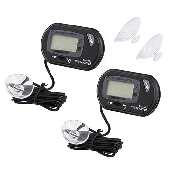 CODIRATO 2PCS Acuario Termómetro LCD Plástico ABS Digital Termómetro de Agua con Ventosa Acuario Marino Temperatura