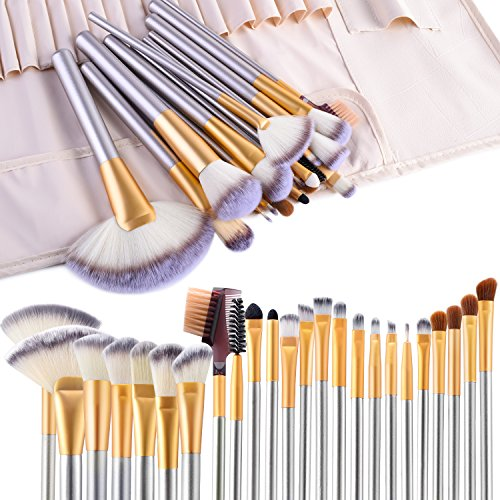 (Make up Brushes, VANDER LIFE 24pcs Premium Cosmetic Makeup Brush Set for Foundation Blending Blush Concealer Eye Shadow, Cruelty-Free Synthetic Fiber Bristles, Travel Makeup bag Included, Champagne )
