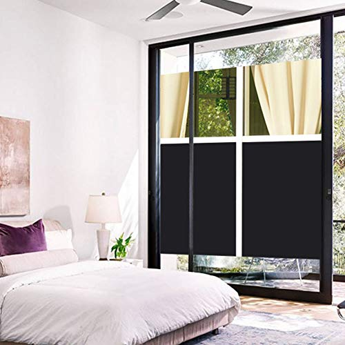 Coavas Privacy Window Film, Non Adhesive Static Cling Vinly Window Film Both Suitable for Home and Office (Black, 17.7 by 78.7 Inch) by Coavas (Image #6)'