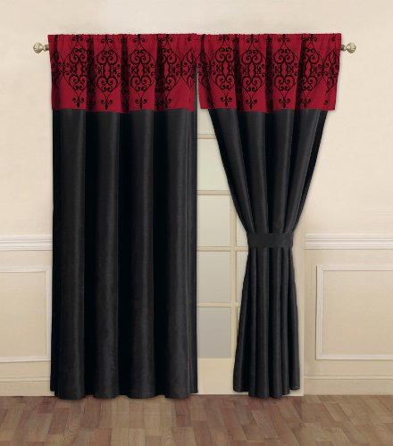 red and black curtains Amazon.com: Catherine Black and Red Curtain Set: Home & Kitchen red and black curtains