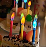 Astra Gourmet 10pcs Colorflame Birthday Candles with Colored Flames