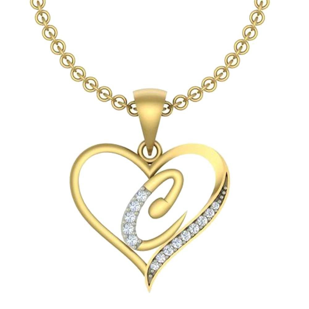 0.10 Ct Round Cut Simulated Diamond LetterC In Heart Pendant With 18 Chain 14K Yellow Gold Plated