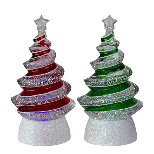Roman Set of 2 LED Lighted Color-Changing Swirl Tree Christmas Glitterdomes 8.5