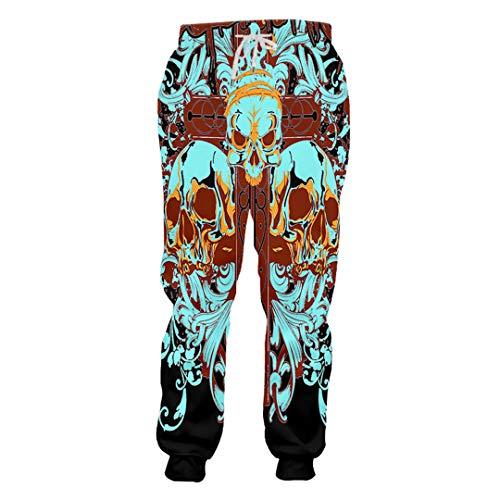 3d Gothic Unisex Cross Stampati rostisy Pantaloni Pattern Vine Skull Uomo Ken Flower fIqawO