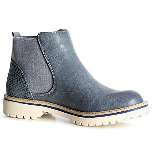 Bottines Topschuhe24 Boots Bleu Femmes Chelsea PY5Uqv45
