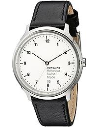 Unisex MH1.R2210.LB Helvetica No1 Regular Analog Swiss Quartz Black Leather Watch