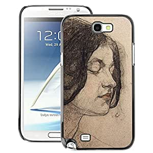 A-type Arte & diseño plástico duro Fundas Cover Cubre Hard Case Cover para Samsung Note 2 N7100 (Portrait Woman Brunette)