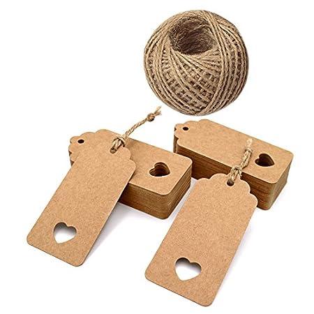 4,5 cm x 9,5 cm Etichette con 200 piedi di spago lungo di iuta per etichette per bagagli e etichette fai-da-te Etichette bianche 200 PCS etichette regalo