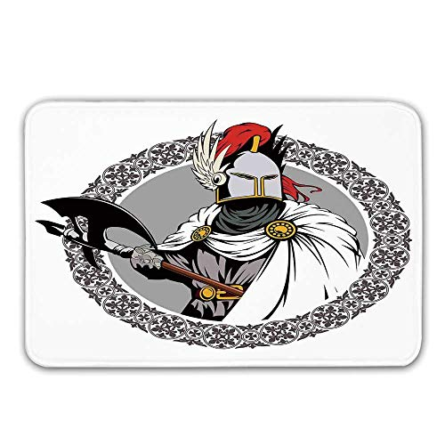 Medieval Decor Non Slip Rubber Entrance Rug,Illustration of The Medieval Knight with Traditional Costume and Ancient Mask Heroic Past Doormat for Front Door,31.5
