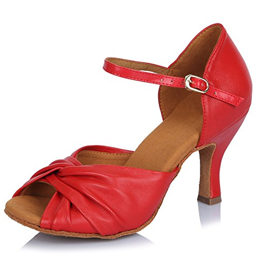 Performance Dance Ballroom Tango Leather Shoes Latin AF810 Red Model Shoes Salsa Roymall Womens qAt8X