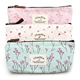 Countryside Flower Floral Pencil Pen Case Cosmetic Makeup Bag Set of 3 by Klicnow