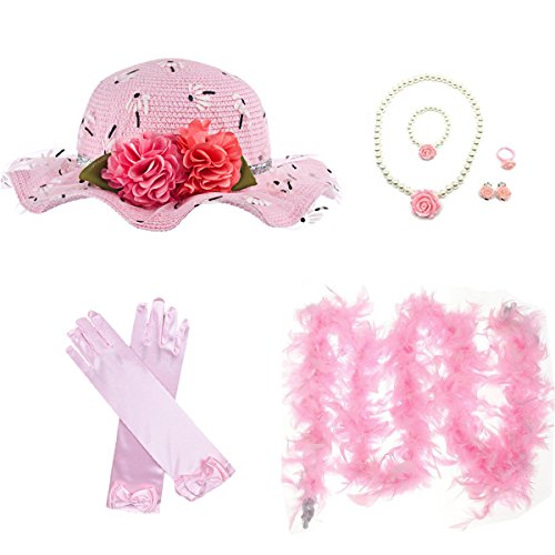 GILAND Girls Tea Party Set Dress Up Play Sunhat, Feather Boa, Gloves and Jewelry (Light Pink) by GILAND