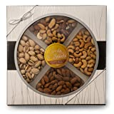 Fancy Salted Mixed Nuts, Large Deluxe Gourmet Kosher Nut Platter, Salted Pistachios, Salted Cashews, Raw Almonds, Assorted Nuts, Salted, Gift Box W/Silver Ribbon Food Party Tray Baskets