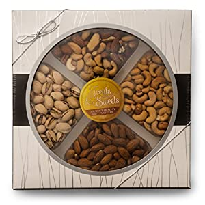 Gourmet Nut Platter, Salted Mixed Nuts, Salted Pistachios, Salted Cashews, Raw Almonds, Assorted Nuts, Fancy Mixed Nuts, Salted, Raw Mixed Nuts Kosher, Gift Box W/Silver Ribbon Food Party Tray Baskets