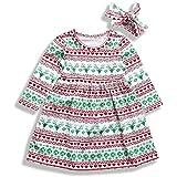 Mini honey Toddler Kids Baby Girl Christmas Costume Long Sleeve Tutu Dress andHeadband Outfits (Multicolor, 4-5 T)