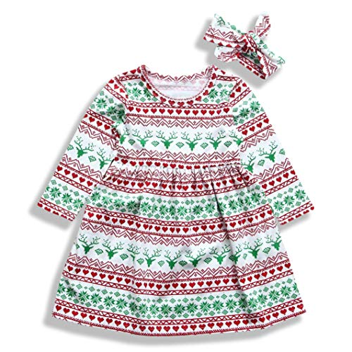 Baby Holiday Dresses (Mini honey Toddler Kids Baby Girl Christmas Costume Long Sleeve Tutu Dress Headband Outfits (Multicolor, 12-18)