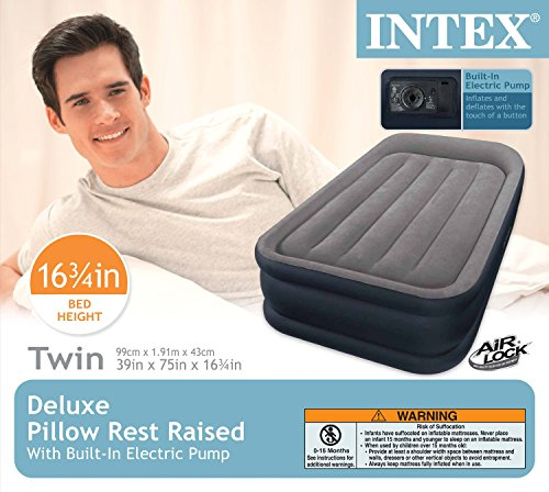 Intex Deluxe Pillow Rest Raised Airbed with Soft Flocked Top for Comfort, Built-in Pillow and Electric Pump, Twin, Bed Height 16.75""