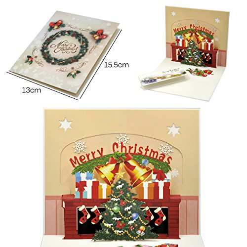 eZAKKA 3D Christmas Cards Pop Up Holiday Greeting Gifts Cards with Envelopes for Xmas Merry Christmas New Year, 5-Pack Photo #5
