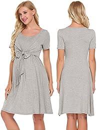 Ekouaer Maternity Dress Pregnant Hospital Nightgown Nursing Sleepwear S-XXL