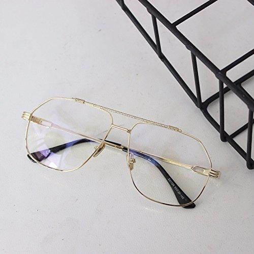 Metálico Macho Golden Gafas Hembra Espejo Oro transparente Espejo Plano Gafas De LXKMTYJ Transparentes Bastidor t7n4pxq