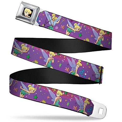 (Buckle-Down Seatbelt Belt - Tinker Bell Poses/Flowers/Stars/Skull Purple - 1.0